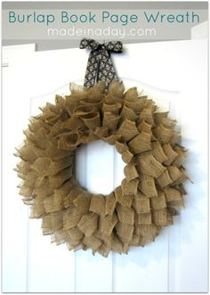 Burlap Book Page Wreath from www.cottagemarket.com