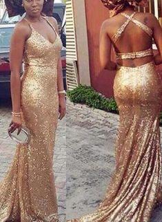 Sequins Prom Dresses, Gold Cross Back Formal Dress, Prom Dress 2018 – BeMyBridesmaid