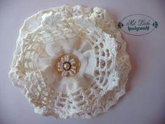 Shabby Blume Vintage Nostalgie Spitze Perlen Stoffblume Landhaus Handarbeit