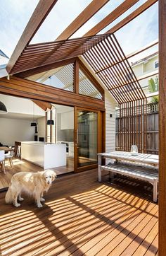 Sheri Haby Architects recently completed renovations at Gable House, a charming Edwardian timber cottage. A previously built addition to Gable House incor Wood Patio, Patio Roof, Weatherboard House, Gable House, Roof Styles, House Extensions, Living Room Remodel, Living Rooms, Luxury Interior Design