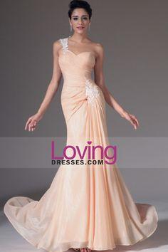 2014 de um ombro plissado corpete bainha / coluna vestido de noite chiffon com Applique