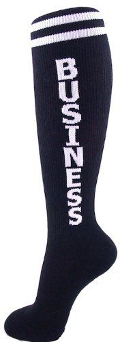"""Business Unisex Socks by Gumball Poodle. $7.99. Takin' care of ..... you guessed it ... BUSINESS!   Inspired by classic '70s tube socks, our Business socks are black with two white stripes around the top with BUSINESS spelled down each calf in bold red letters. Design is woven in, not screenprinted.  Unisex design fits most - women's shoe size 7 - men's 13. Socks reach to the knee on persons 5'2"""" - 6'2"""" (so they'll be over-the-knee socks on petite folks and mid-calf height on b..."""