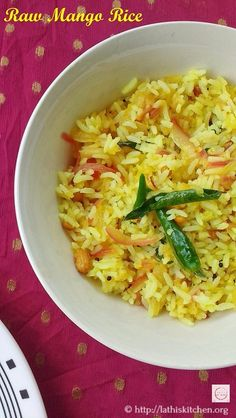 This Raw Mango Rice is an apt choice for your kids lunch box. You will not have to worry about them returning home without emptying the lunch box. Mango Recipes, Rice Recipes, Indian Food Recipes, Vegetarian Recipes, Healthy Recipes, Ethnic Recipes, Risotto Recipes, Lunch Box Recipes, Side Dish Recipes