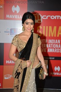 Shreya Saran in gold & black saree at South Indian International Movie Awards 2014