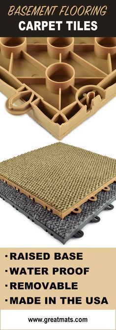 Raised Carpet tiles are an excellent way to add comfort and style to your baseme. Raised Carpet tiles are an excellent way to add comfort and style to your basement. Carpet Tiles For Basement, Basement Laundry, Basement Flooring, Basement Waterproofing, Basement Repair, Basement Bathroom, Basement Finishing, Basement Stairs, Low Ceiling Basement