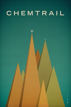 Chemtrail - Graphic Design - Illustration, Airplane, Minimalistic, Green, Orange