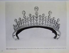 a diamond belle epoque tiara, circa 1900. Formerly the property of Adele, Countess of Cadogan, put up for auction on 5th July 1960. Designed as a series of five pear-shaped diamonds, atop columns of circular diamonds, with diamond spacers.
