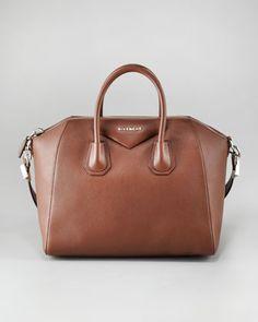 Antigona Satchel Bag by Givenchy: Pebble goat leather with silvertone hardware. #Handbag #Satchel #Givenchy