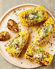 Yotam Ottolenghi's grilled corn with avocado butter, grilled limes and aleppo chilli