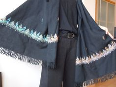 Vintage Embroidered Shawl Black by TequilaCloset on Etsy, $32.00