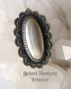 Artist signed VJP Vincent Platero hand Stamped Sterling Silver hand stamped oval concho ring | Native American Jewelry | Schaef Designs Jewelry | New Mexico