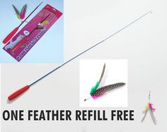 Funny KITTEN CAT FISHING FLY TOY Genuine feather fishing Rod Teaser Tickler -US $24.70