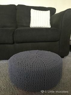 Free pattern for a round crocheted pouf made with a round foam tuffet from Fairfield World
