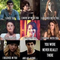 Thomas from The Maze Runner, Harry from Harry Potter, Clary from The Mortal Instruments, Hazel Grace from The Fault in Our Stars, Katniss from The Hunger Games, Tris from Divergent, Cassie from The 5th Wave, Charlie from Perks of Being A Wallflower