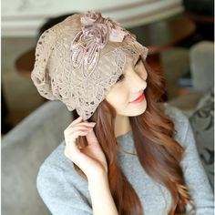 Find More Skullies & Beanies Information about Fashion Casual Set of Head Hat Women Winter Han Edition Double Hollow Out Lace Flowers Chemotherapy Cap Keep Warm Wind Outdoor,High Quality cap crochet,China flower logo Suppliers, Cheap flower cap from Bys Store Store on Aliexpress.com