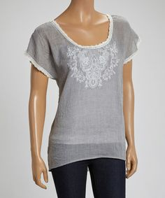 Love this Silver & Ivory Flourish Embroidered Dolman Top on #zulily! #zulilyfinds