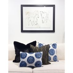 Blue & Black custom throw pillows pillowsbydezign.com