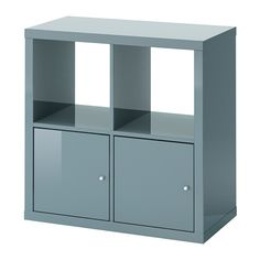 KALLAX Shelving unit with doors, high-gloss gray-turquoise high-gloss gray-turquoise 30 3/8x30 3/8