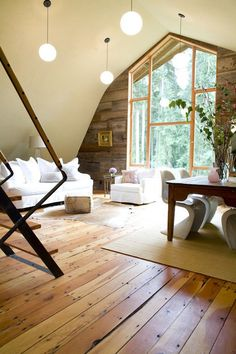 I love this space (minus the lights and dining room chairs!)