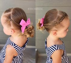 2 side mini braids and 1 center hairline French braid pulled into a low left messy bun! Sweet bow from - today is the LAST DAY to get off your order with discount code Toddler Hair Dos, Easy Toddler Hairstyles, Flower Girl Hairstyles, Princess Hairstyles, Little Girl Hairstyles, Messy Hairstyles, Hairdos, Toddler Girl, Haircut Styles For Women