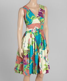Look at this #zulilyfind! Turquoise Floral Surplice Dress by Aryeh #zulilyfinds