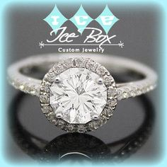 Moissanite Engagement Ring 6.5mm 1ct Round Custom Checkerboard Cut in a 14K White Gold Diamond Halo Setting