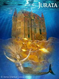 Jurata is a baltic deity, a  sea goddess ruling over all sea life. She resided in an amber palace. She fell in love with a mortal man and her father Perkunas (Perun) was so mad, he destroyed her castle and even today people say if parts of amber are found on the shore it is the remains of Jurata's palace.