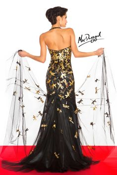 BLACK WHITE RED, 85199R Long dress dragonflies <3