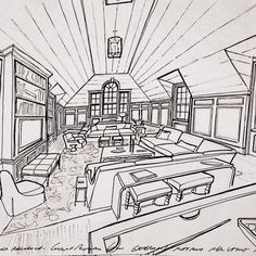 Corner of a games room/ billiard room on a project on Long Island #garrowkedigian #interiors #interiordesign #handdrawn #concept #conceptsketch #furnitureplan #furniturelayout #familyroom #gameroom #billiardroom #vaultedceiling #palladianwindow #sectionalsofa #sofa #upholsteredchairs #coffeetable #pooltable #builtinbookcases #builtincabinetry #newyork #newyorkhomes #longisland #longislanddesign