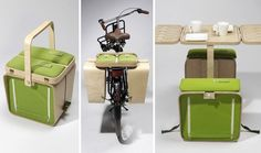 This would have been so boss on my bike! Curse you bike thief! A Picnic Basket That Triples as a Table Set + Bike Trunk National Bike Month, Bike Gadgets, Bike Panniers, Convertible Furniture, Small Space Solutions, Picnic Time, Picnic Set, Summer Picnic, Bike Rack