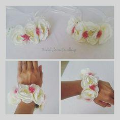 Artificial peony flower bangle by bridal flower jewellery www.bridalflowerjewellery.weebly.com