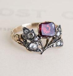 "Georgian Giardinetti Garnet and Rose-Cut Diamond Ring.  Giardinetti, meaning ""little garden"", was a popular style of ri..."