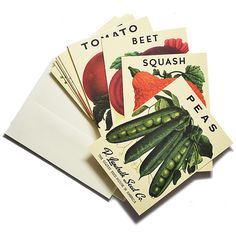 Heirloom Vegetable Seed Packet Note Cards. $22.00 #giftsforfoodlovers #giftsforgardeners