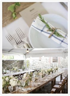 rustic wedding reception - wooden family style tables with lace & burlap table runners, ivy & box planters flowing with white flowers