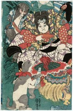 Momotarô and His Animal Friends  桃太郎  Japanese, Edo period, about 1840 (Tenpô 11)  Artist Utagawa Kuniyoshi, Japanese, 1797–1861, Woodblock print (nishiki-e); ink and color on paper, MFA