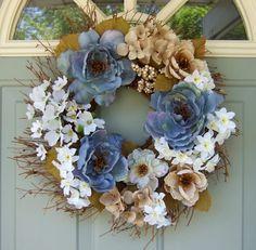 Summer Wreath  Wreath for Door  Floral Door Wreath by countryprim, $38.00