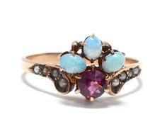 Victorian Amethyst Opal & Seed Pearl Rose by RubyInTheDustVintage $725