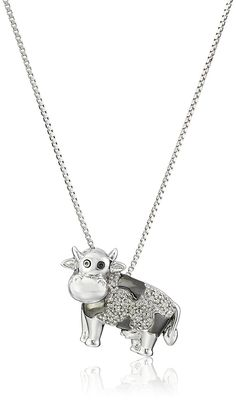Sterling Silver and Diamond Accent Cow Pendant Necklace * Check out this great product.