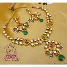Kundan & Meenakari Emerald Ruby Necklace