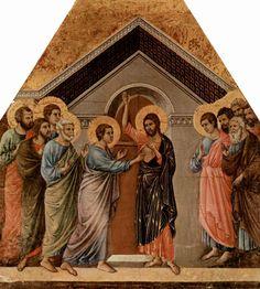 Маэста, алтарь сиенского кафедрального собора, оборотная сторона, Неверие Фомы