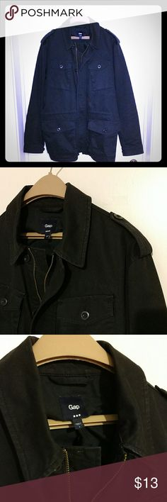 GAP Men's Large Utility Jacket Here's a lightweight military-style jacket with 4 pockets. The color is a dark Navy Blue (in some pics it may look Gray or Black). No flaws & all buttons are accounted for. GAP Jackets & Coats Military & Field