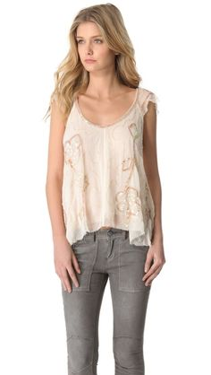 Free People Tritan's Treasure Woven Top, in love with the detailing on this, would need a small or extra small