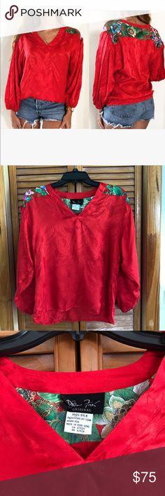 Spotted while shopping on Poshmark: Vintage Diane Freis Silk Red Floral Blouse Top! #poshmark #fashion #shopping #style #Diane Freis #Tops