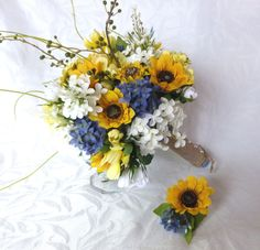 4 piece Sunflower wedding Country wedding Sunflower Bouquet set twine wrap country chic bouquet by ChurchMouseCreations on Etsy https://www.etsy.com/listing/227399918/4-piece-sunflower-wedding-country