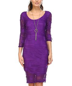 Another great find on #zulily! Purple Semi-Sheer Ribbed & Shredded Dress #zulilyfinds