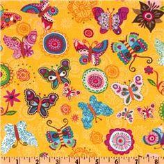 Soul Garden Tossed Butterflies Yellow, cotton