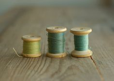 vintage wooden spools / cotton thread rollers / mint green emerald threads / soviet era sewing supplies on Etsy, $6.32