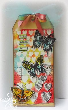 Susanne Rose - Papierkleckse: Live Laugh Love #mixedmedia #gelatos #timholtz #tag
