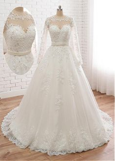 Wedding Dress Lace, Stunning Tulle Jewe Neckline A-line Wedding Dress With Beaded Lace Appliques & Belt, Unique and inexpensive wedding gowns that wow! Shop our wedding dresses online and in-store for top styles and trendy bridal looks. Find your dream Western Wedding Dresses, Wedding Dress Styles, Dream Wedding Dresses, Bridal Dresses, Wedding Gowns, Maxi Dresses, Tulle Wedding, Diy Wedding, Event Dresses