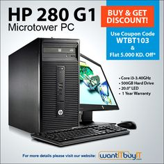 #Exclusive #deal for #KuwaitShoppers! HP 280 G1 MT Desktop & All-in-ones at FAB price Starting from 105 KD. Get the computing power you need while minimizing the total cost of ownership—now that's a smart investment!! Now Get FLAT 5 KD OFF on this offer using Coupon code (WTBT103). Buy here: http://www.wantitbuyit.com/desktops-all-in-one.html?computer_manu or Call (+965) 97201347 or (+965) 22616127/28/2.  Visit www.wanitbuyit.com for more offers! #HP #Desktop #wantITBuyIT